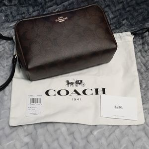 Coach Cosmetic Bag Brown and Black Monogram